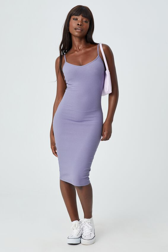 Georgia V Neck Midi Dress, CLOUDY LILAC