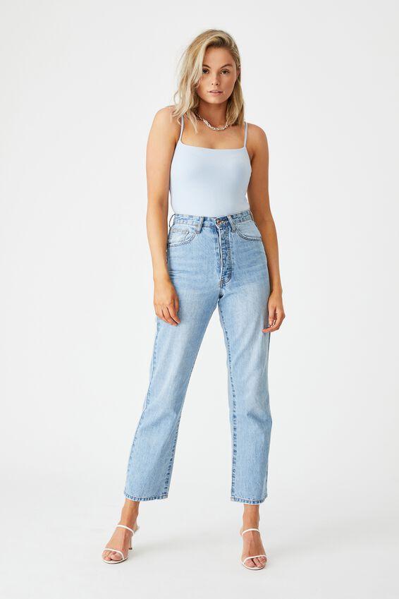 Square Neck Bodysuit, BLUE PETAL