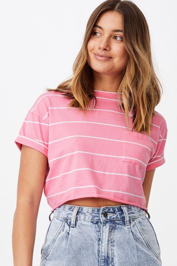 Ciara Crop T-Shirt, ROZA STRIPE PNCH PNK/WHT