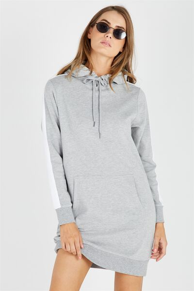 Stripe Sleeve Hoodie Dress, GREY/WHITE