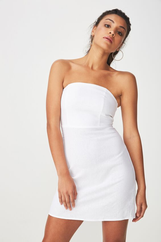 Strapless Mini Dress, WHITE