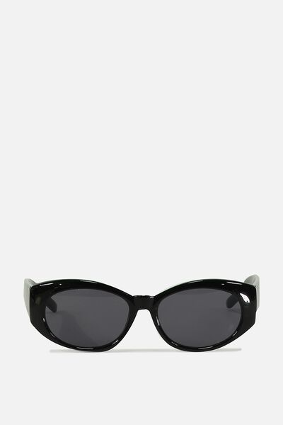 Veronica Ovals Sunglasses, BLACK