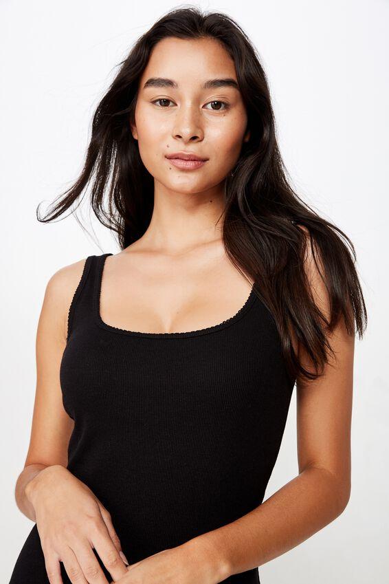 Helly Trim Mini Dress, BLACK