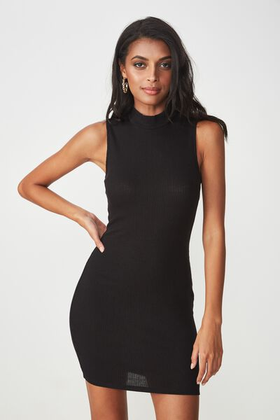 Layla Rib High Neck Mini Dress, BLACK
