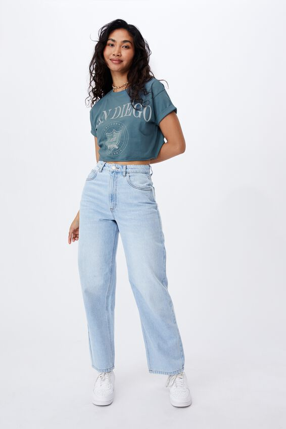 San Diego Crop T Shirt, ARCTIC TEAL/SAN DIEGO