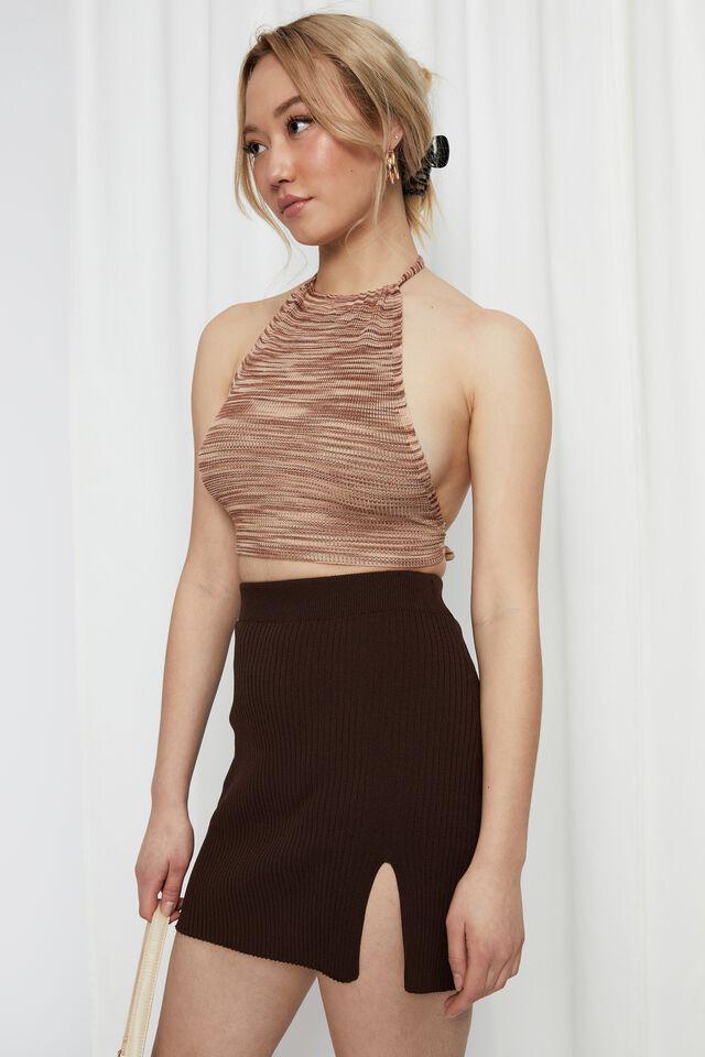 Bianca Knit Mini Skirt, BRUNETTE