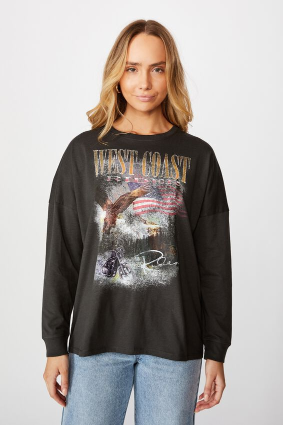 West Coast Eagle Long Sleeve Tee, PHANTOM/WEST COAST RIDER