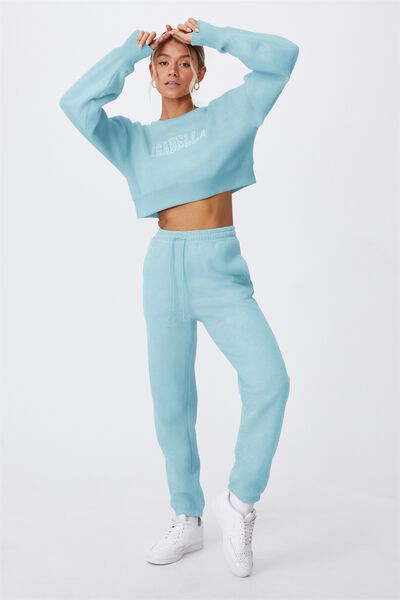 Personalised Louisa Cropped Jumper- College, CHALKY TEAL