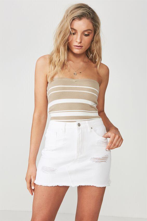 Winona Ultra Destroy Denim Skirt, WHITE