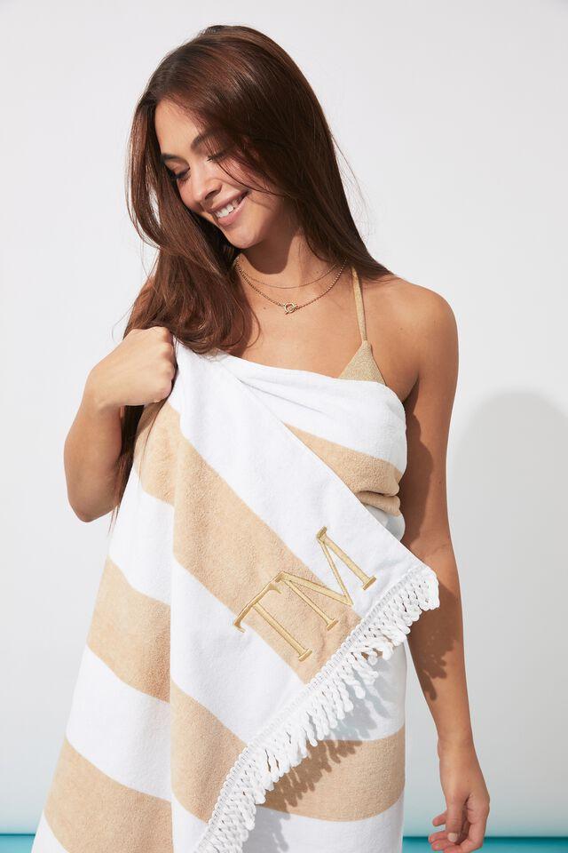 Personalised Beach Towel, PALE HONEY/WHITE STRIPE