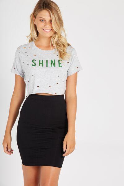 Side Stripe Midi Skirt, BLACK/WHITE