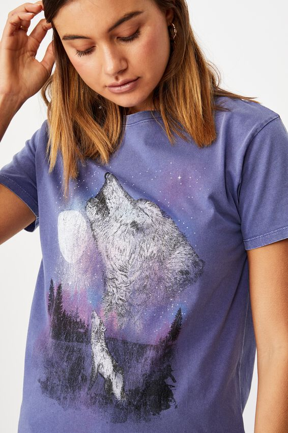 Lola Printed Longline T Shirt, VINTAGE WASH COBALT NAVY/MYSTICAL WOLF