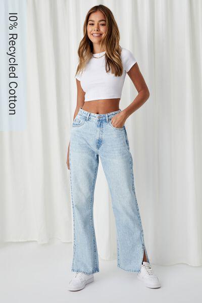 Full Length Wide Leg Jean, SKY BLUE