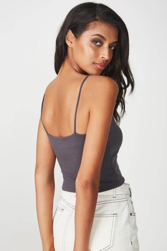 Hayley V Neck Cropped Top, GRANITE GREY