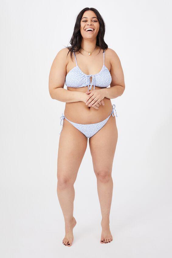 Tie Side Bikini, CALI MONO FLORAL/SUNNY BLUE/SHIRRED