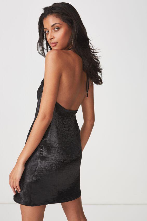 Cowl Neck Satin Party Dress, BLACK