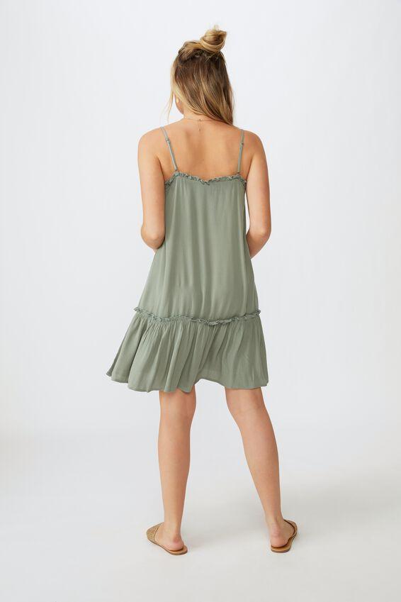 Olivia Tiered Frill Hem Dress, KHAKI