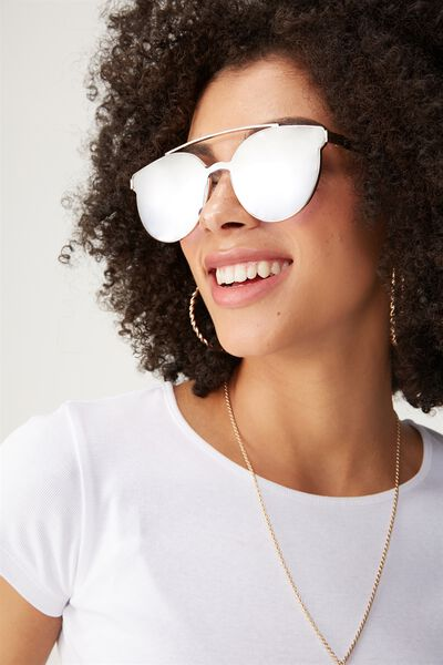 Willow Topbar Sheild Sunglasses, SILVER SKY/GOLD