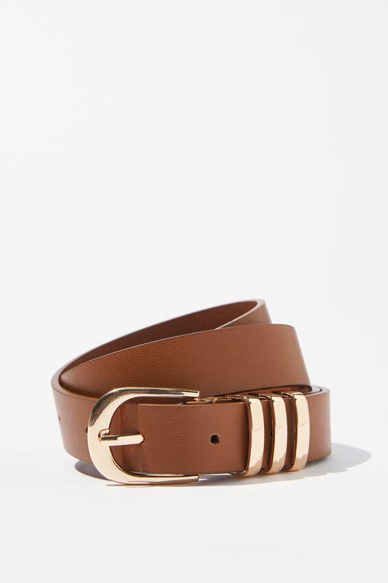 Delilah Triple Beltloop Belt, TAN/GOLD