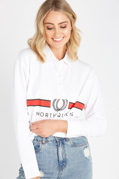 Long Sleeve Collared Rugby Top, WHITE/NORTH QUEENS