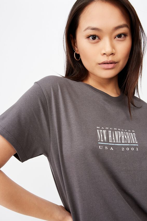 Lola Printed Longline T Shirt, GRANITE GREY/NEW HAMPSHIRE