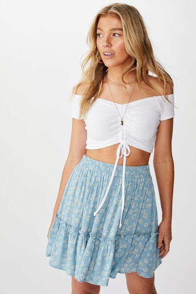 Kaiya Frill Hem Skirt, FALLING FLOWERS FLORAL/GREEN