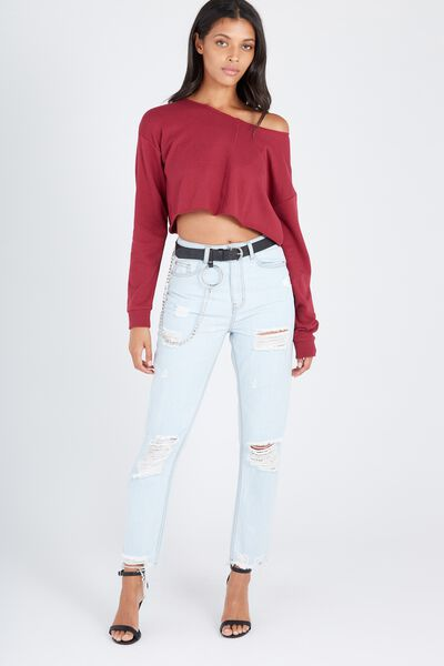 The Cool Mom Destroy Crop Denim Jean, CLOUD BLUE