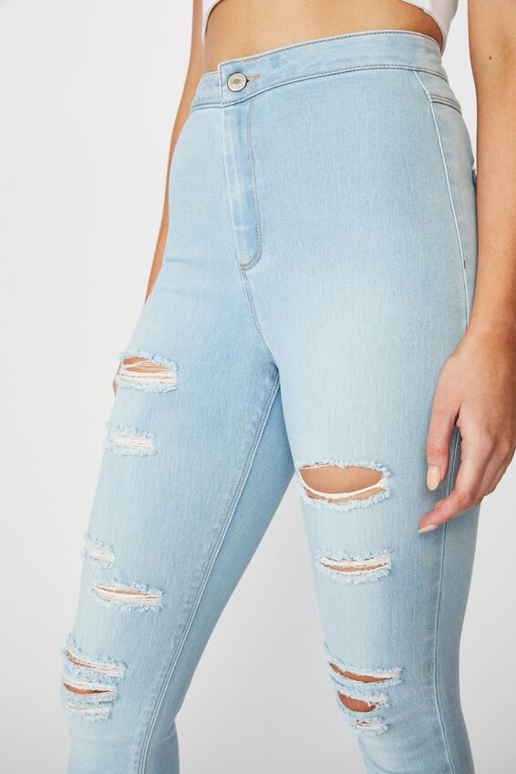 Long Leg Super Skinny Sky High Ripped Jean, BABY BLUE