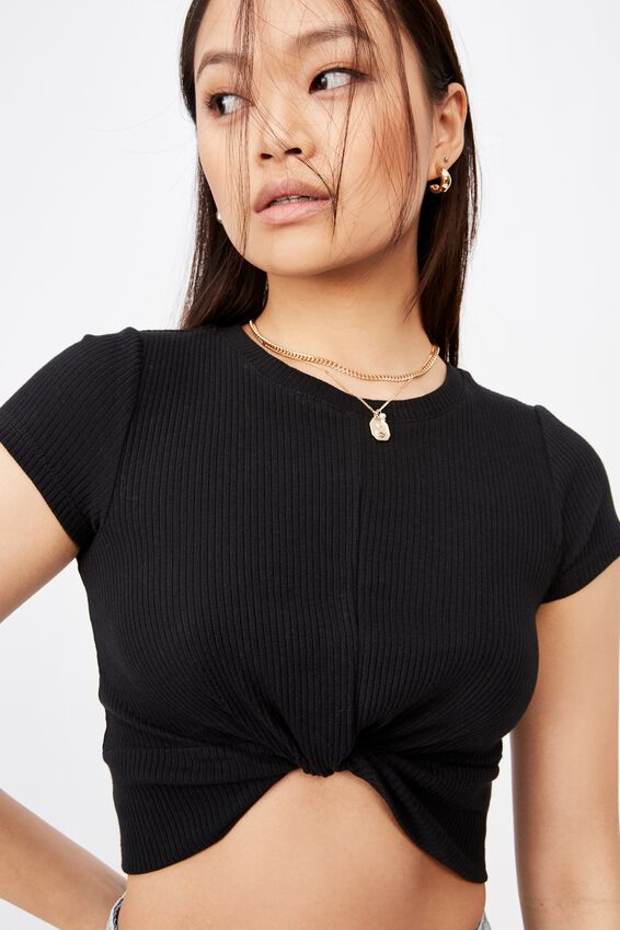 Carly Knot Front Crew Tee, BLACK