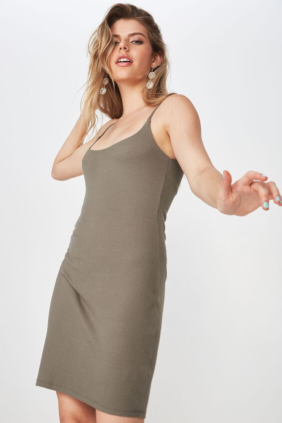 Rib Cami Dress, GUM LEAF KHAKI