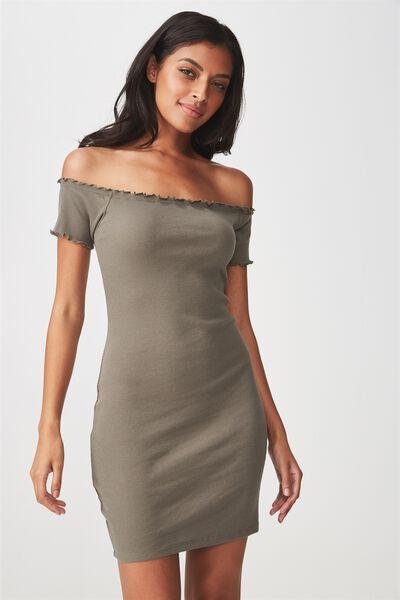 Rib Off The Shoulder Mini Dress, GUM LEAF KHAKI