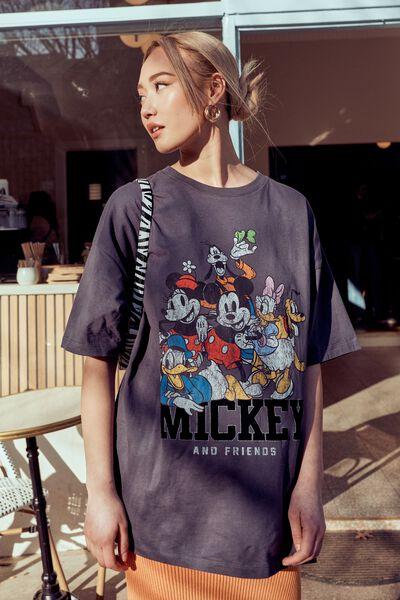 Candace Oversized Printed T Shirt, GRANITE/LCN DIS MICKEY CREW