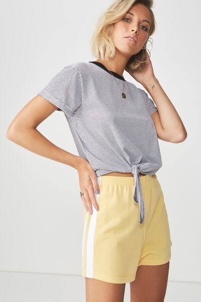 Side Stripe Sweat Short, HONEY