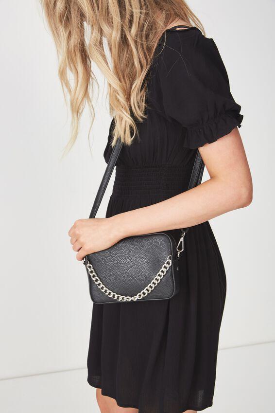 Mini Chain Size Bag, BLACK/SILVER