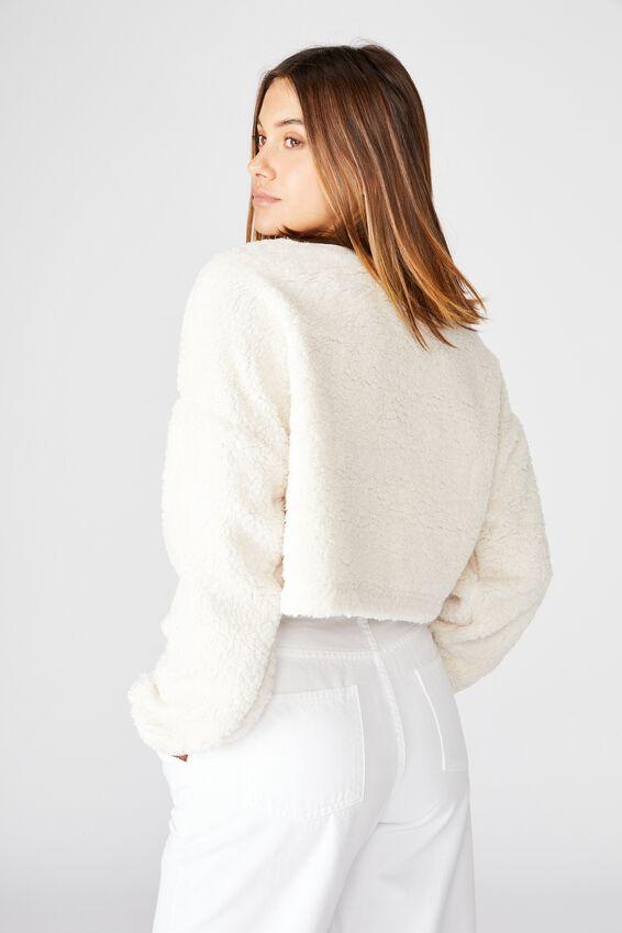 Isabella Crop Polar Fleece, OFF WHITE