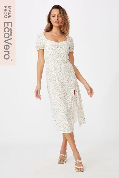 Zendaya Peasant Sleeve Midi Dress, DAPHNE FLORAL WHITE