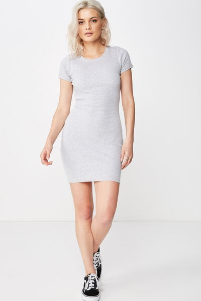 Lucia Rib Tee Mini Dress, GREY MARLE