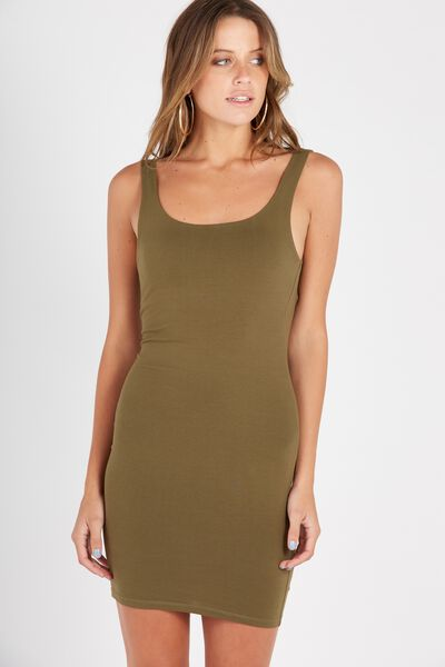 Scoop Neck Bodycon Dress, OLIVE NIGHT