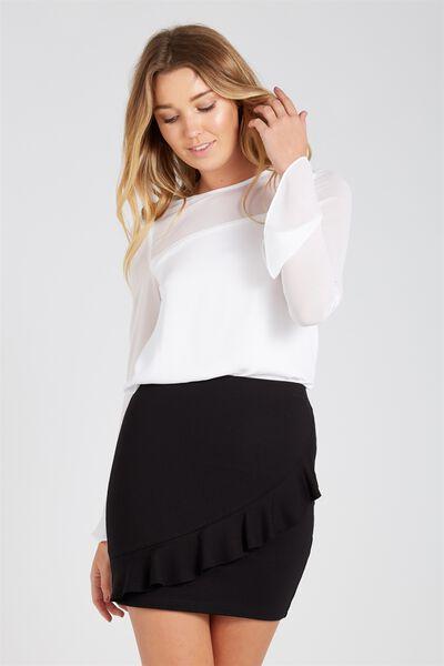 Frill Ponte Mini Skirt, BLACK