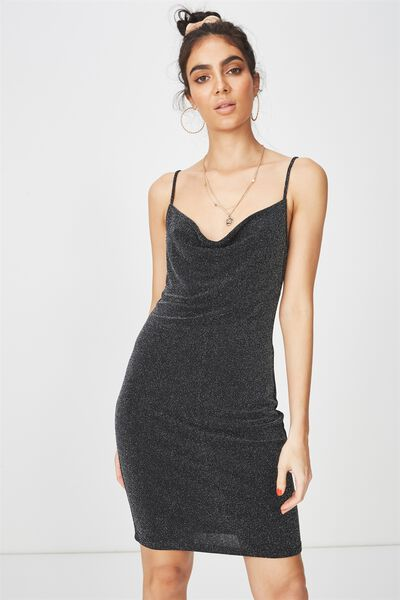 Luxe Cowl Neck Mini Dress, SPARKLE