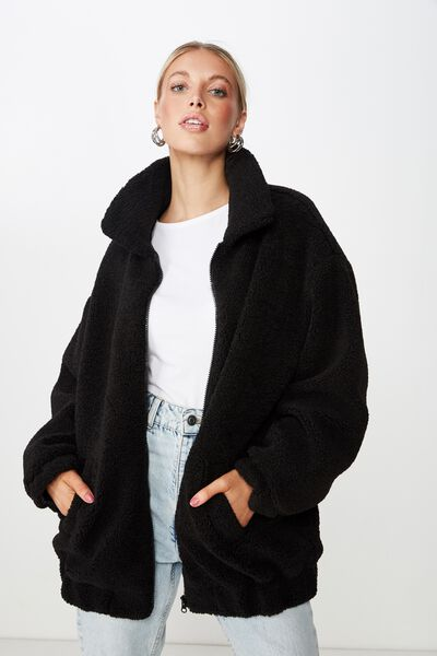 Oversized Faux Sherpa Teddy Jacket, BLACK