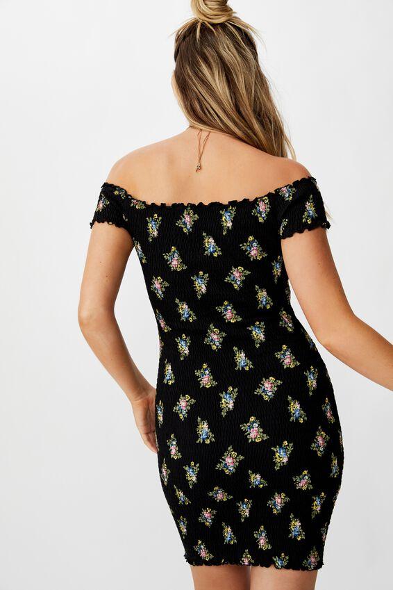 Kristy Shirred Off Shoulder Dress, BOUQUET FLORAL (BLACK)