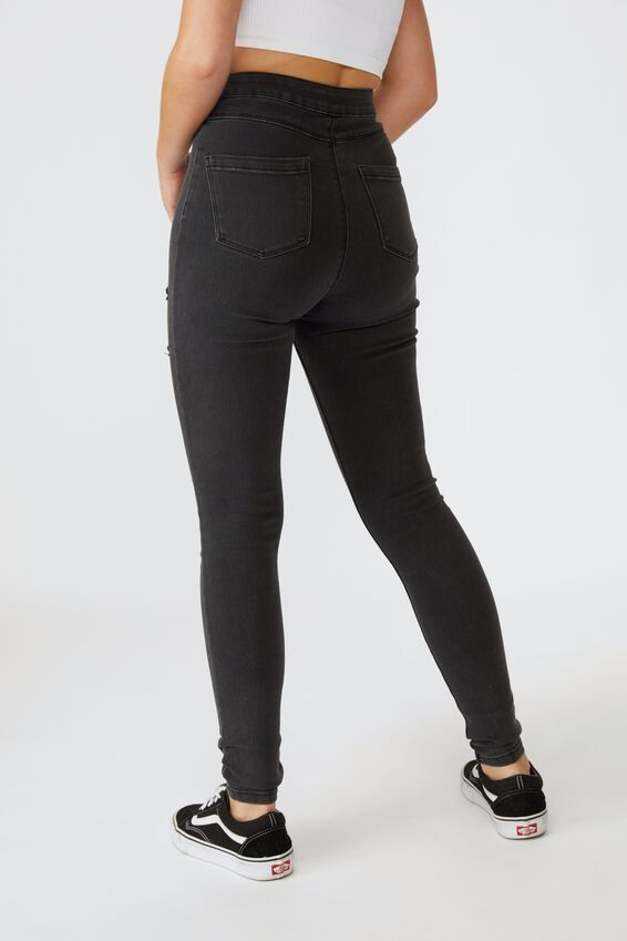 Long Leg Super Skinny Sky High Ripped Jean, DUSTY BLACK RIPPED