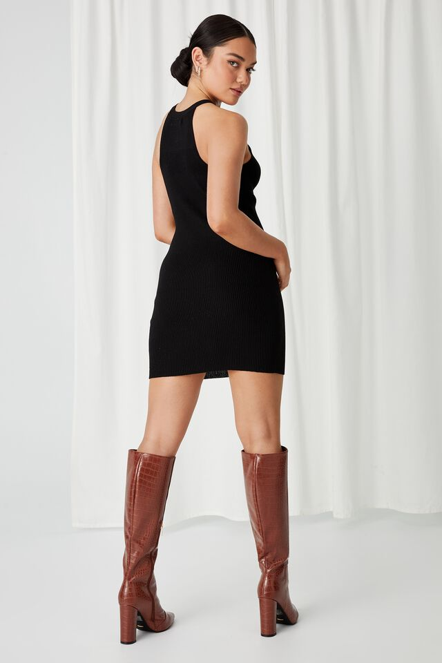 Helena Knit Mini Dress, BLACK