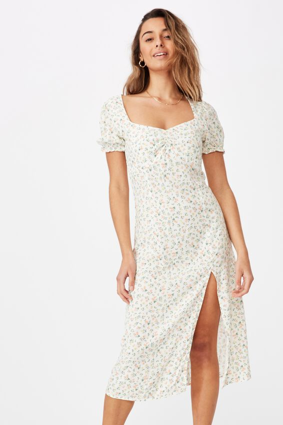 Zendaya Peasant Sleeve Midi Dress, DAPHNE FLORAL WHITE