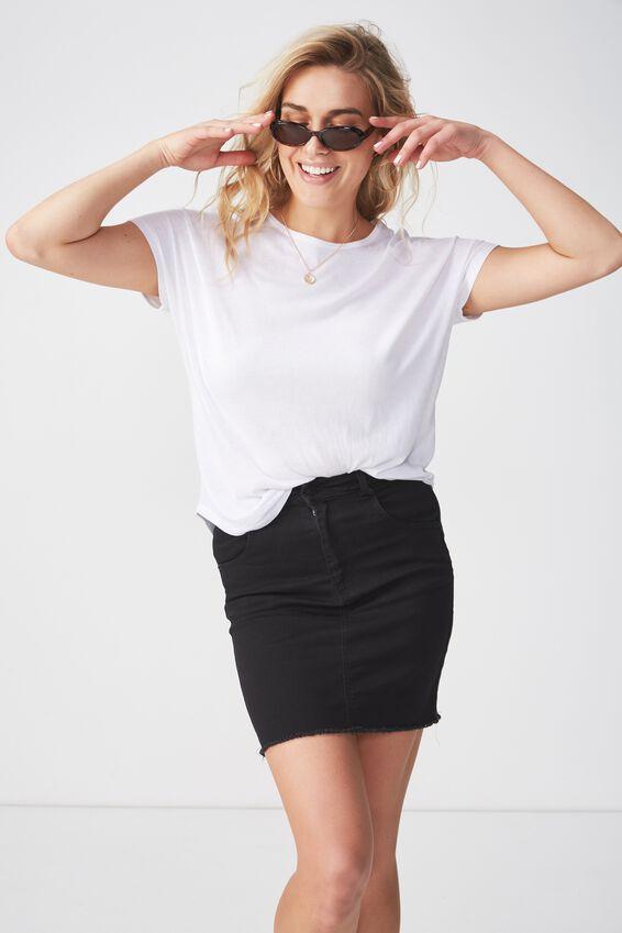 The Charmed Mini Denim Skirt, WASHED BLACK