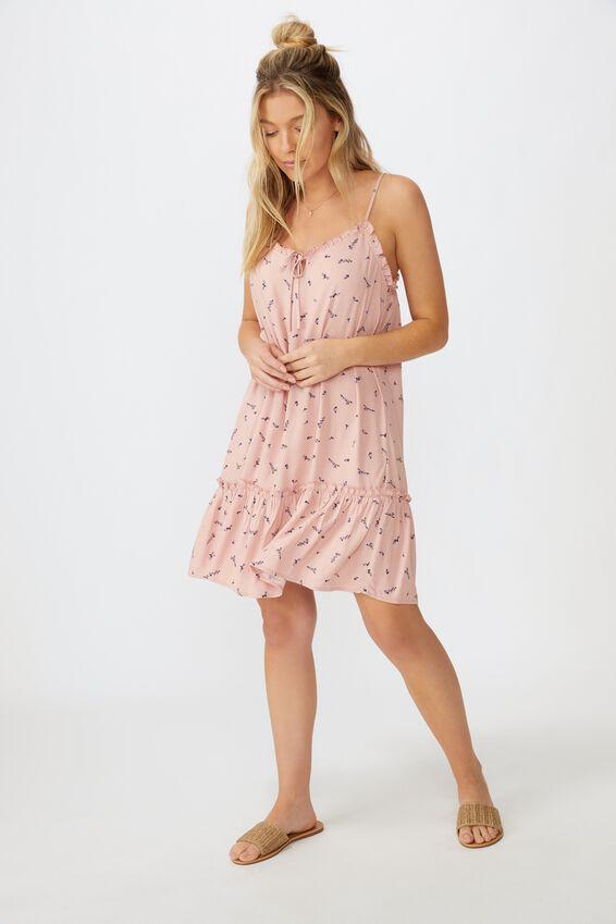 Olivia Tiered Frill Hem Dress, SPARSE SPRIG PINK
