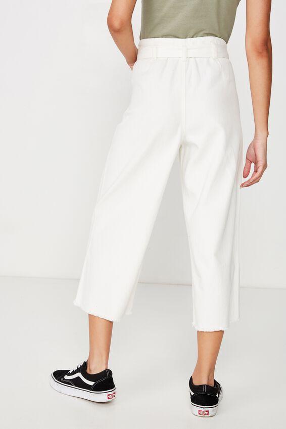 Crop Paperbag Waist Pant, WHITE
