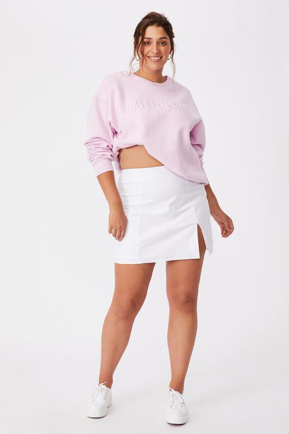 Michelle Split Mini Skirt, WHITE