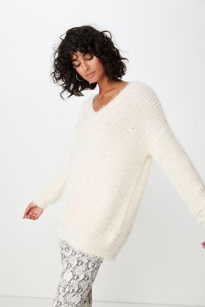 Mia V Neck Knit, CREAM PUFF